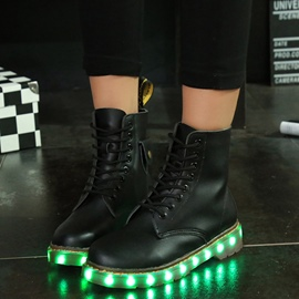 Ericdress Bright LED PU schnüren Ankle Boots