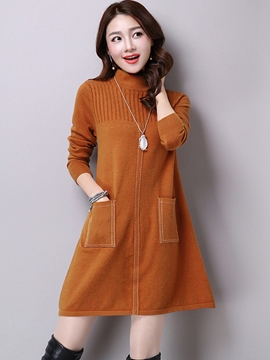 Ericdress Turtleneck Pocket Patchwork Above Knee Sweater Dress