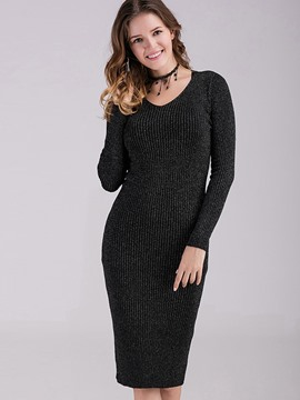 Ericdress Simple Strip Round Collar Slim Casual Dress