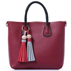 Ericdress Simple Solid Color Tassel Handbag