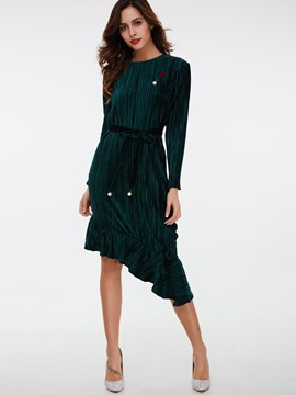 Ericdress Stripe Bead Asymmetrical Casual Dress