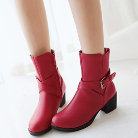 Ericdress PU Cross Buckles Knight Boots