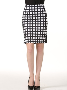 Ericdress Plaid High-Waist Bodycon Knee-Length Skirt