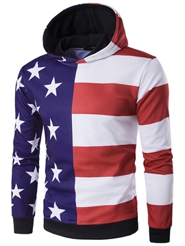 Ericdress Color Block Unique Print Casual Pullover Men's Hoodie