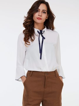 Ericdress Tie Bow Front White Blouse