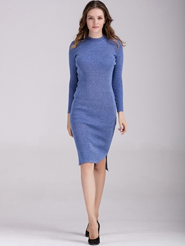 Ericdress Simple Solid Color Knitting Split Sweater Dress