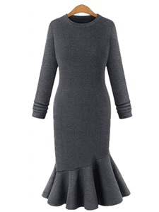 Ericdress Scoop Mermaid Plain Winter Sweater Dress