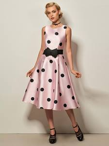 Ericdress Sleeveless Polka Dots Expansion A Line Dress