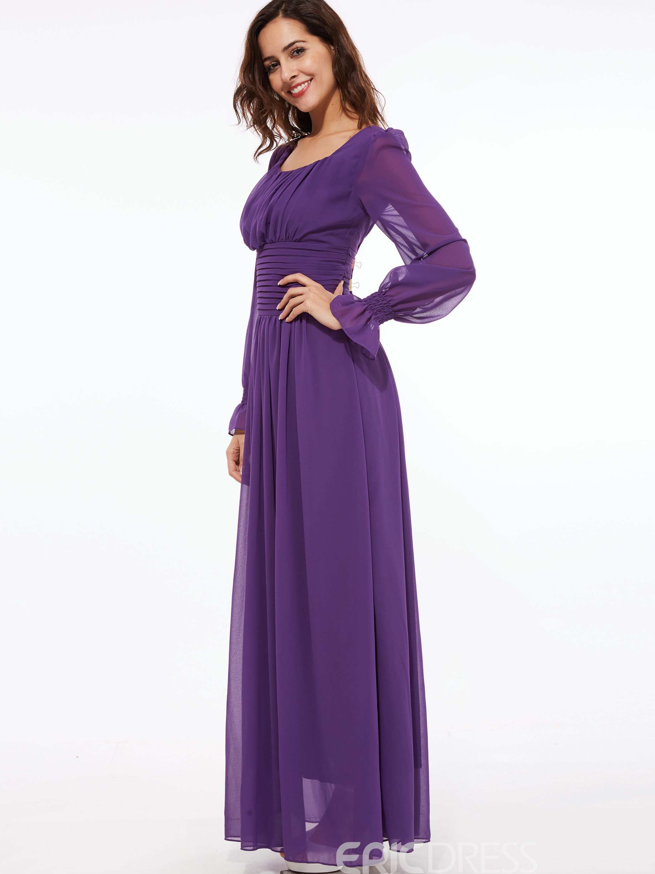 ... Ericdress Solid Color Square Neck Lantern Sleeve Maxi Dress ...