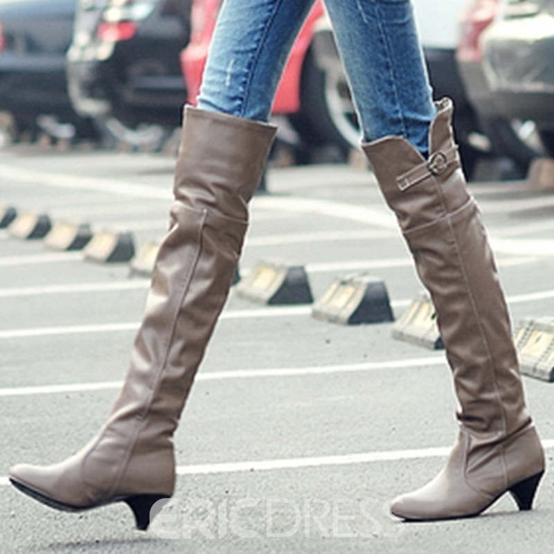 8a54987f8e Ericdress PU Low Heel Thigh High Boots 12664881 - Ericdress.com
