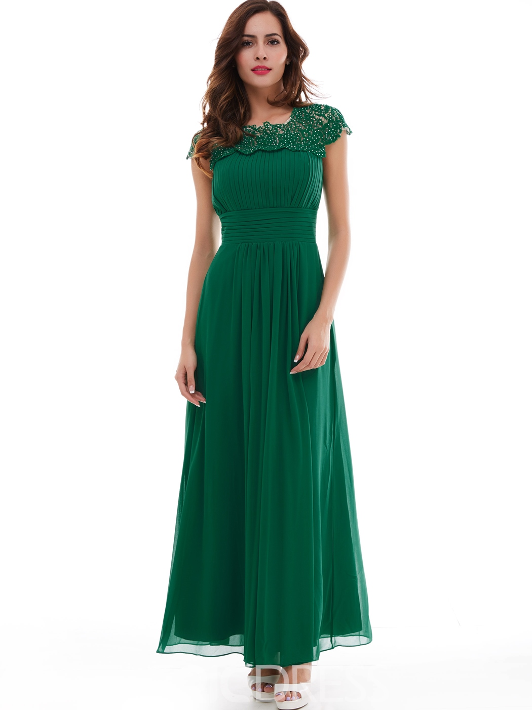 Ericdress Cap Sleeves Beaded Pleats Evening Dress