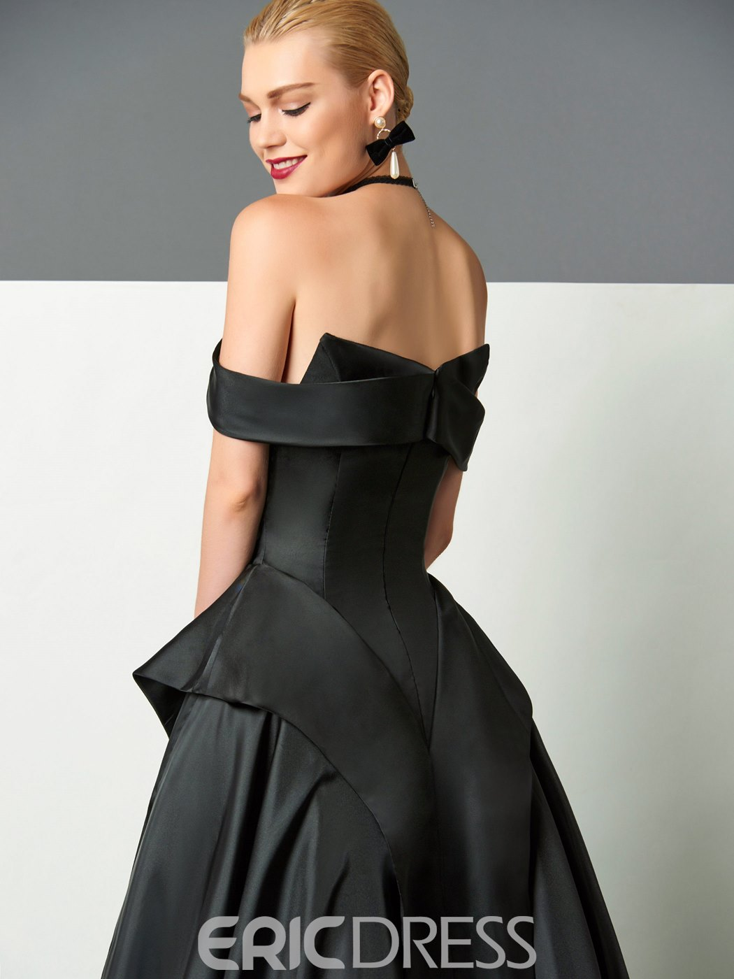 Ericdress A-Line Off-the-Shoulder Cap Sleeves Ruffles Sweep Train Evening Dress