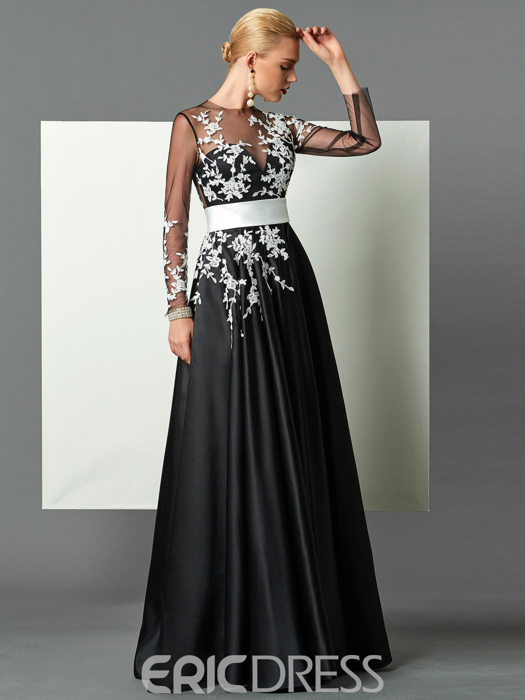 Ericdress Button Long Sleeve Appliques Evening Dress