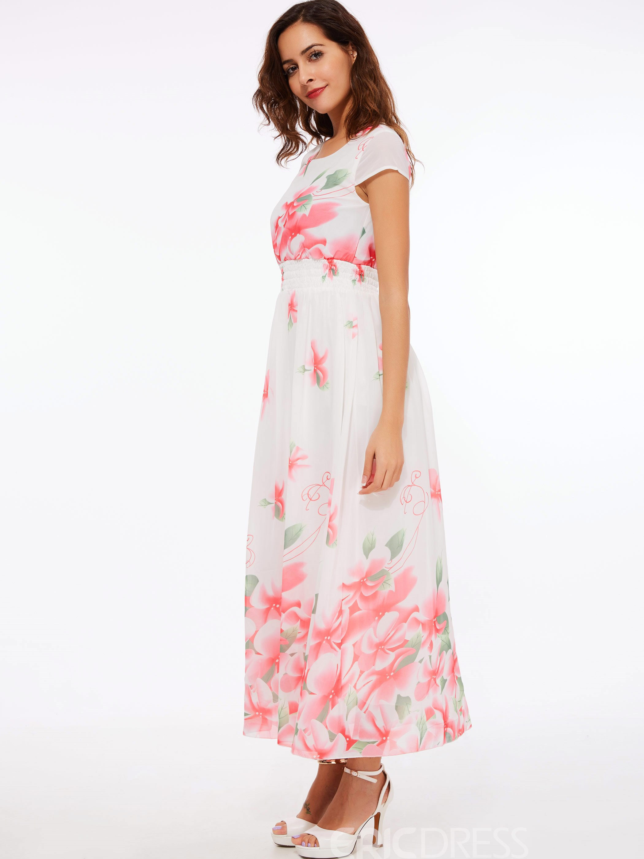 Ericdress Flower Print Expansion Short Sleeve Maxi Dress