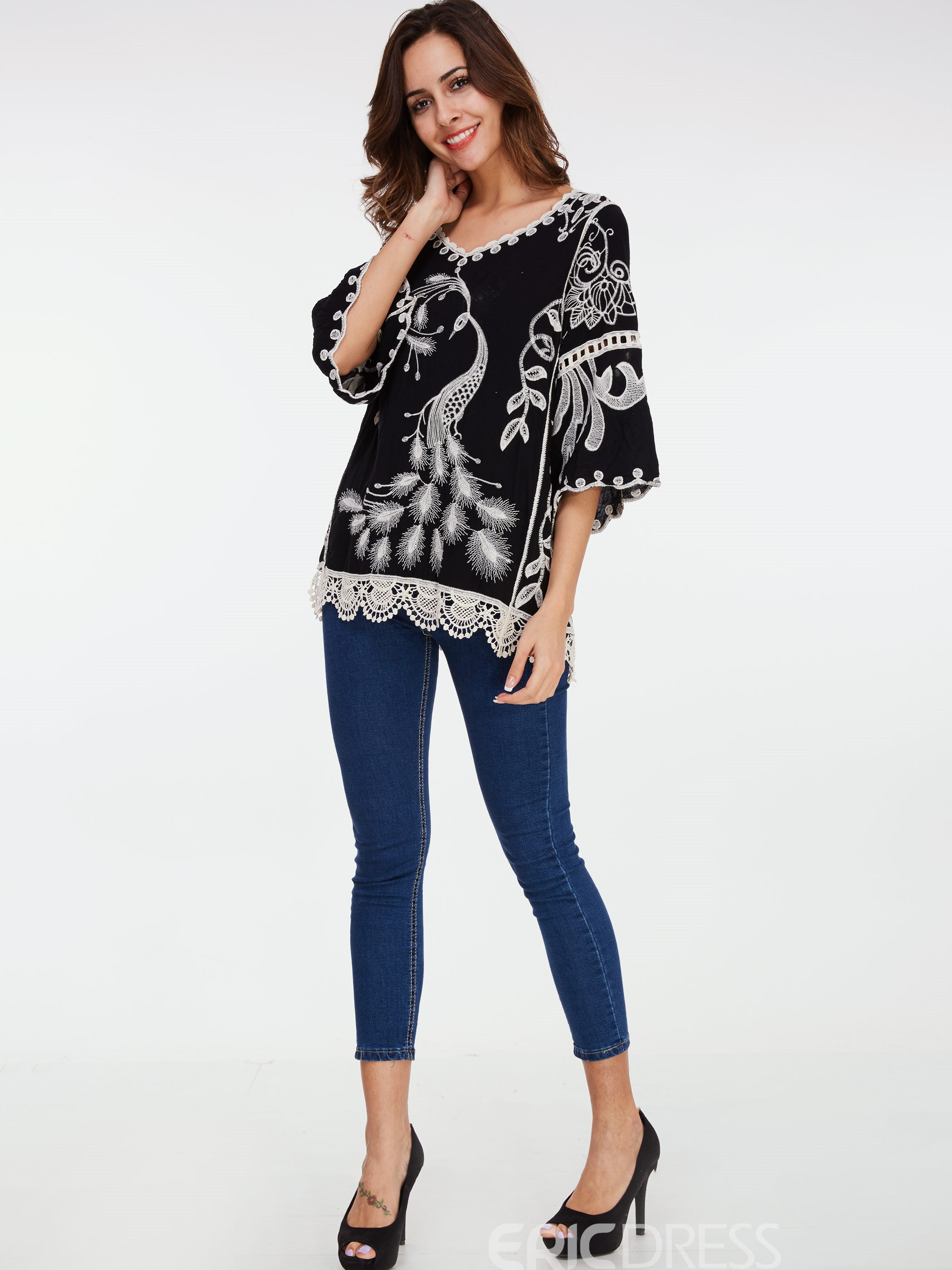 Ericdress Embroidery Three Quarter Blouse