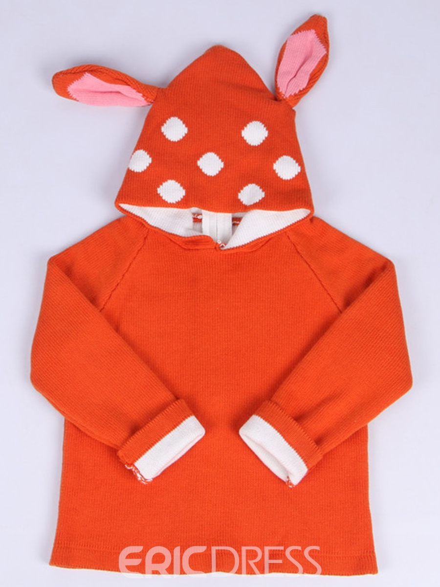Ericdress Unisex Double-Layer Deer Ear Hoodie Back-Zipper Baby Sweater