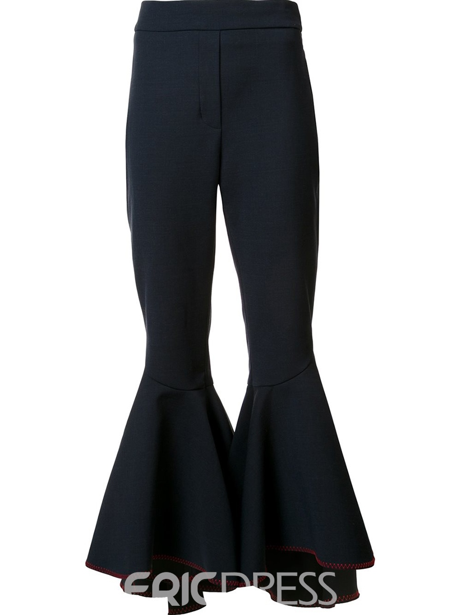 Ericdress Ruffles Zipper Full Length Bellbottoms