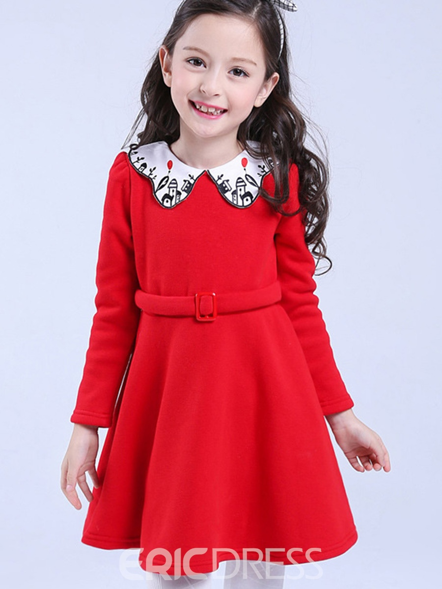 Ericdres Plain Doll Collar Christmas Girls Dress