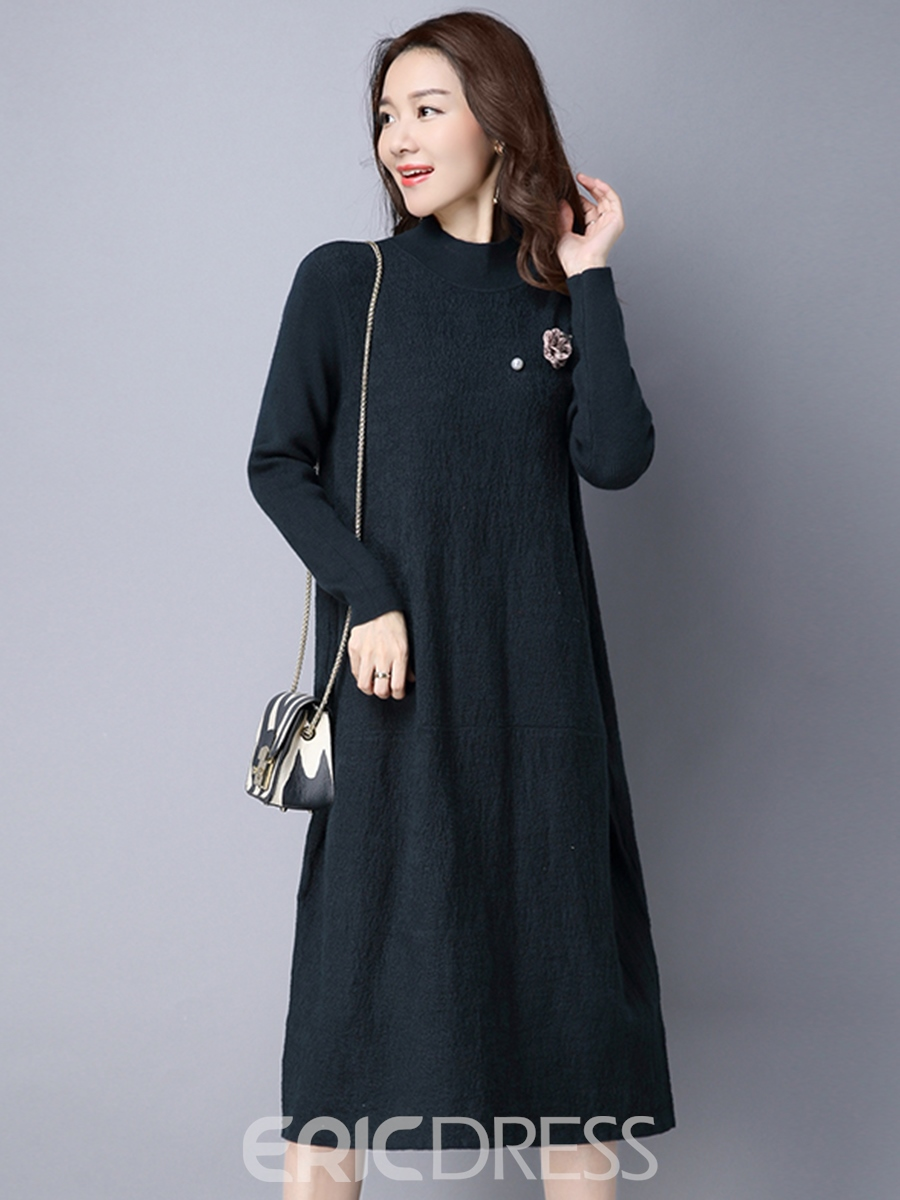 Ericdress Cowl-Neck Solid Color Patchwork Straight Casual Dress
