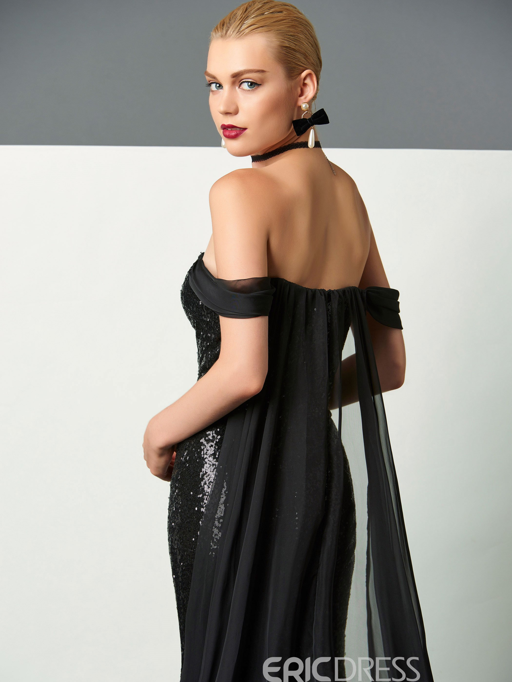 Ericdress Sheath Off The Shoulder Sequin Evening Dress With Watteau Train