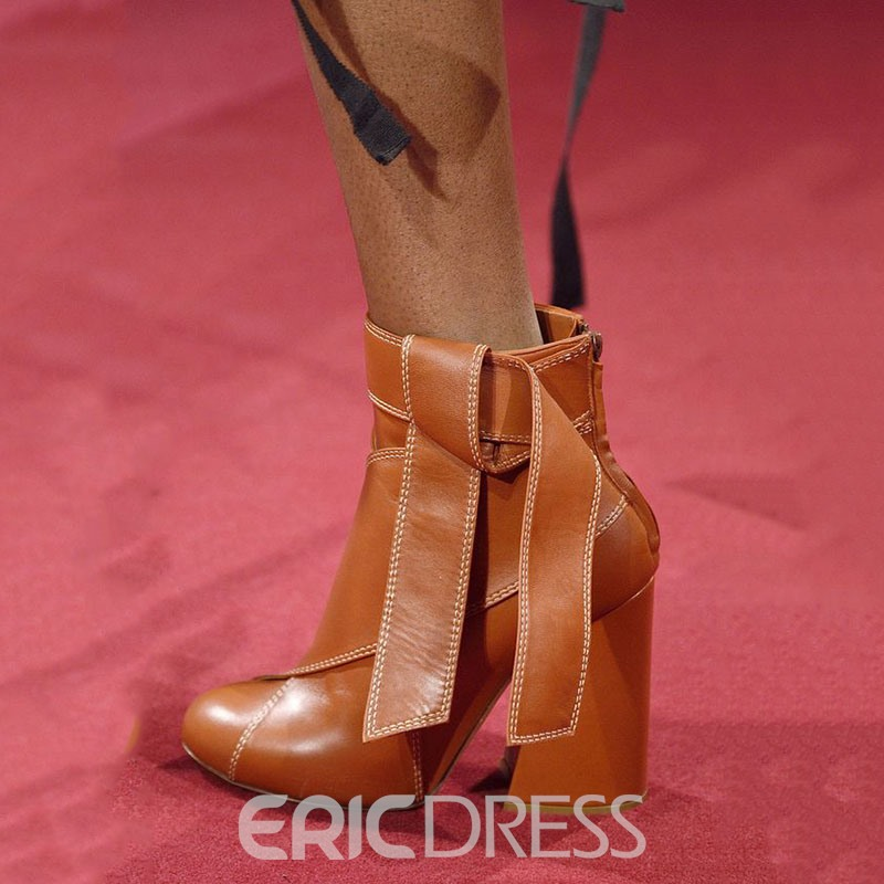 Ericdress Special Brown Ankle Knot Wrap High Heel Boots