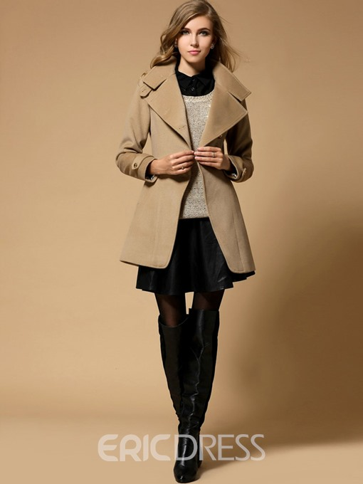 Ericdress Turtleneck Single-Breasted Trench Coat