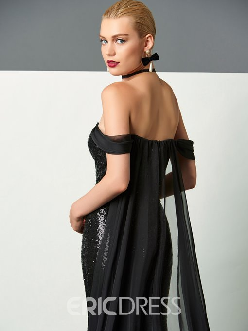 Ericdress Sheath Off The Shoulder Sequin Reflective Evening Dress