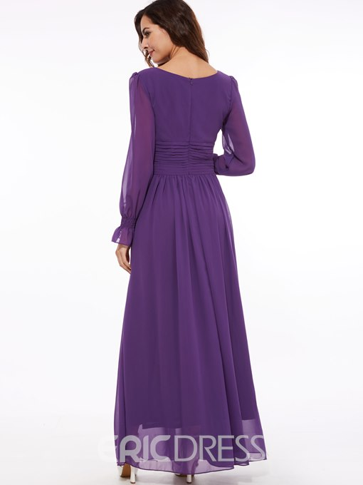 Ericdress Solid Color Square Neck Lantern Sleeve Maxi Dress