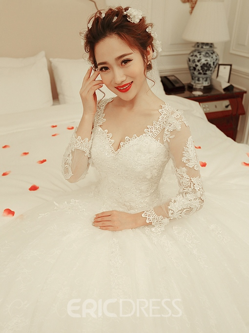 Ericdress Appliques Long Sleeve Ball Gown Wedding Dress
