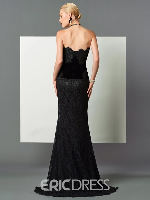 Ericdress Column Strapless Lace Sweep Train Evening Dress