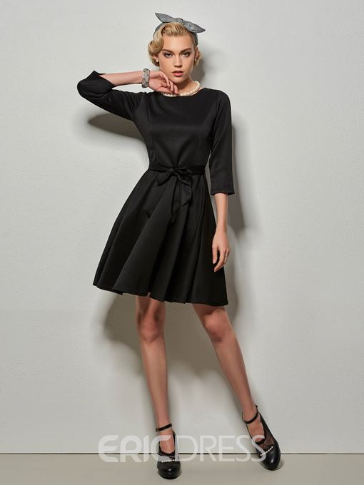 Ericdress Solid Color A Line Lace-Up Long Sleeve Dress