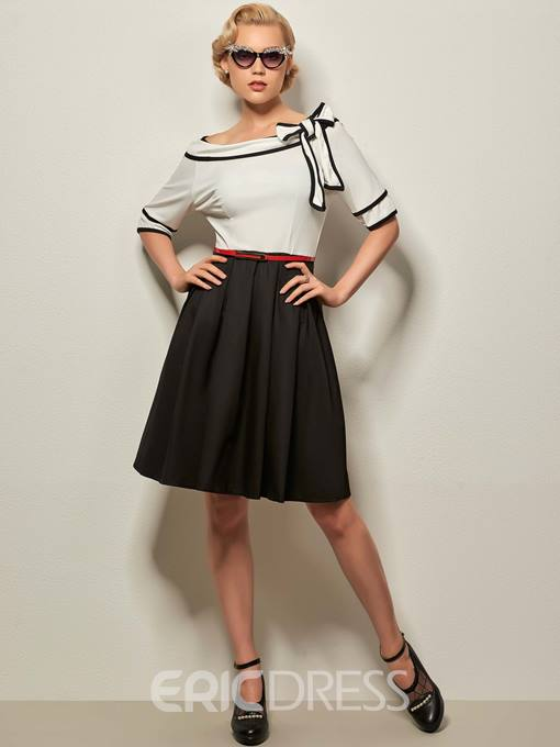 Ericdress Color Block Bowknot Patchwork Vintage A Line Dress