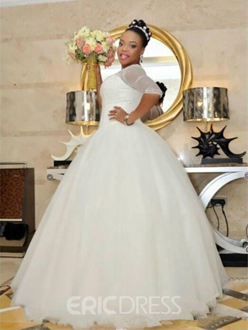 Ericdress Half Sleeves Beading Plus Size Wedding Dress