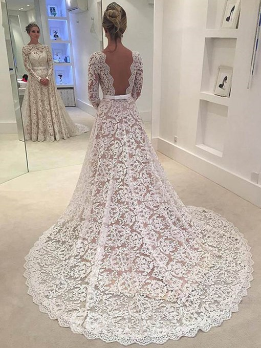Ericdress Charming A Line Long Sleeves Backless Lace Wedding Dress