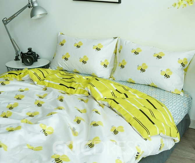 Vivilinen Honey Bee Print White Cotton 4-Piece Bedding Sets