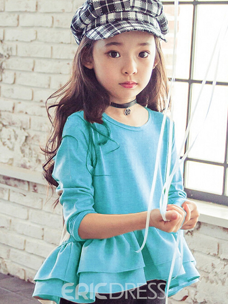 Ericdress Simple Plain Long Sleeve Ruffled Girls T-Shirt