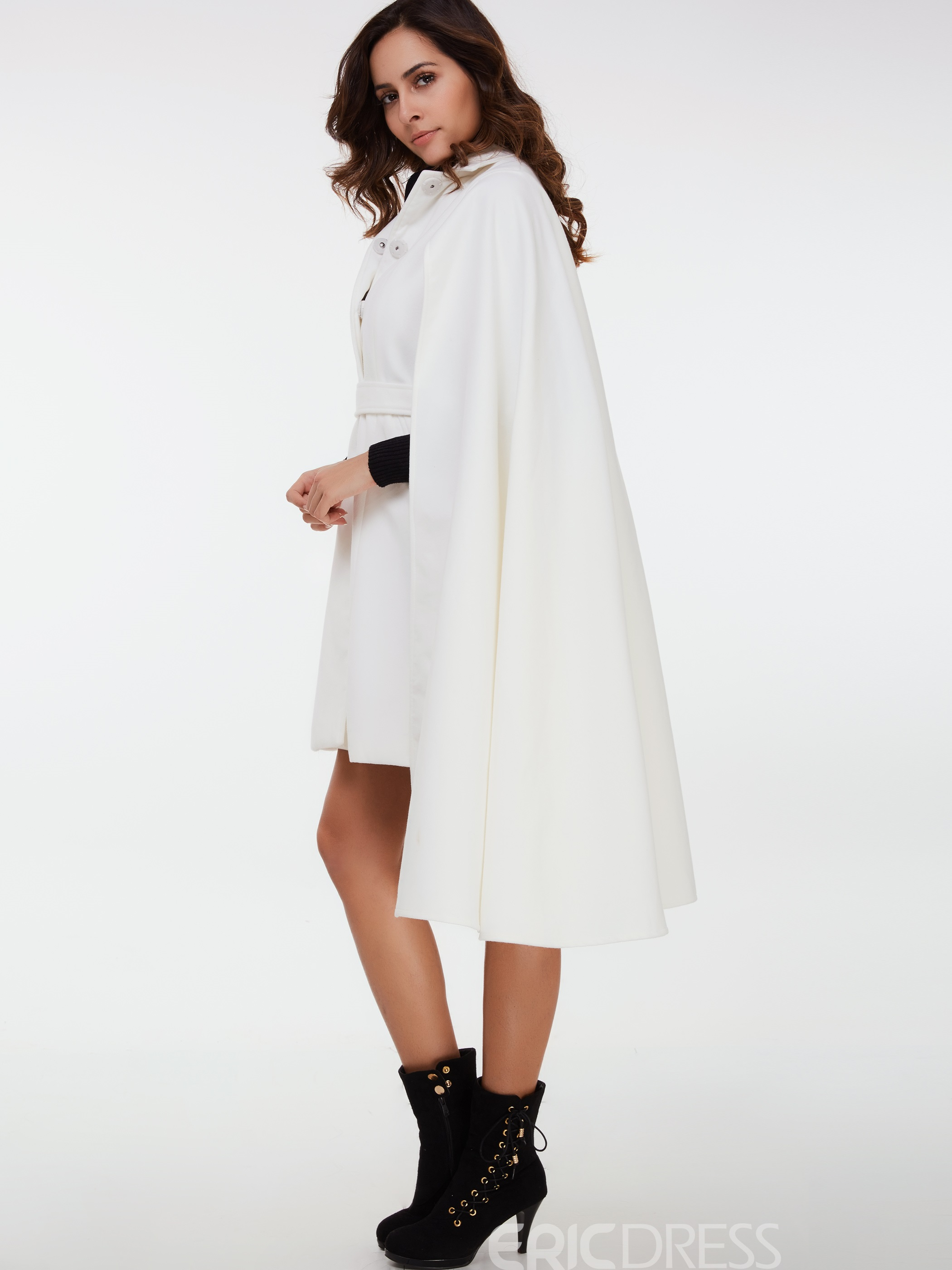 Ericdress Solid Color Turn-Down Slim Cape