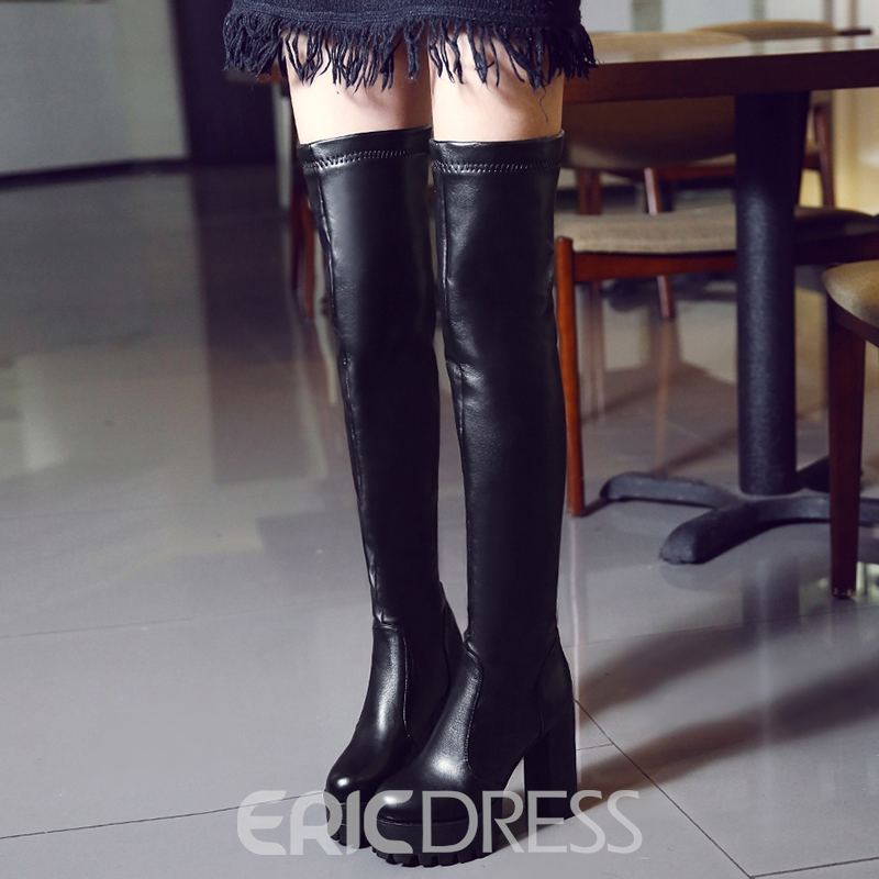 Ericdress Cool PU Platform Chunky Heel Thigh High Boots
