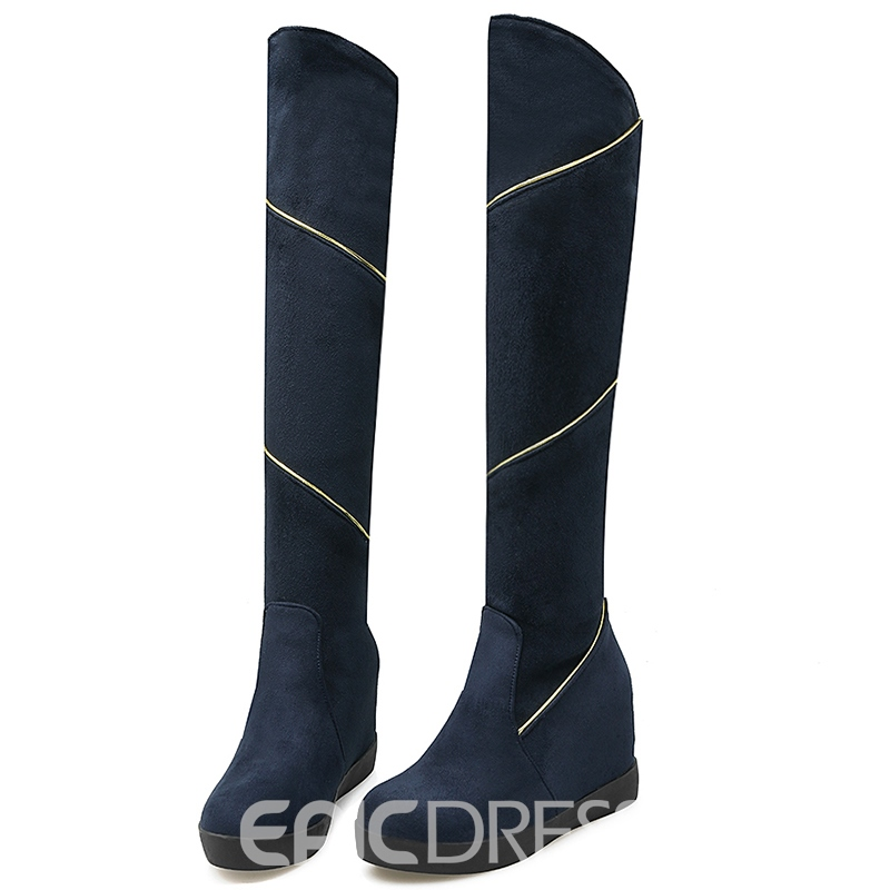 Ericdress Charming Suede Elevator Heel Thigh High Boots