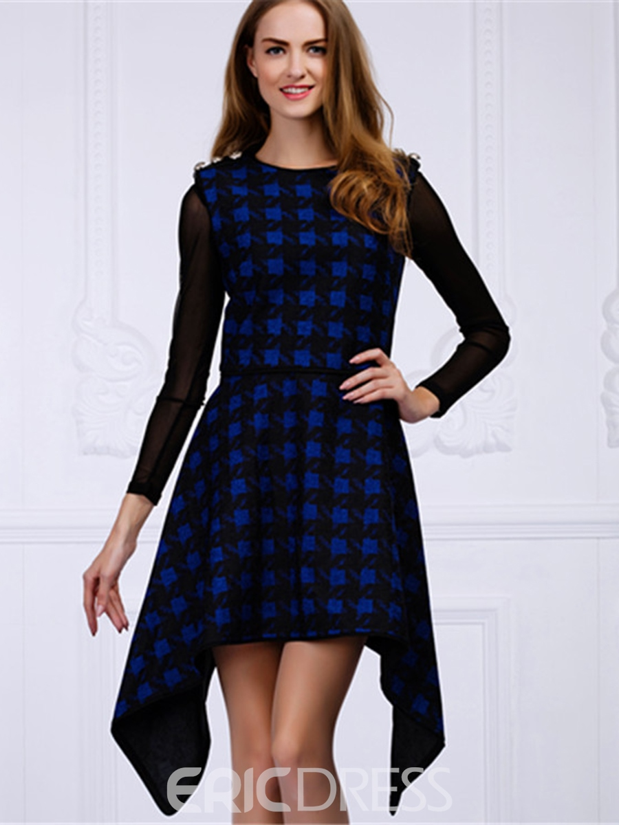 Ericdress Button Epaulet Plaid Asymmetrical Casual Dress