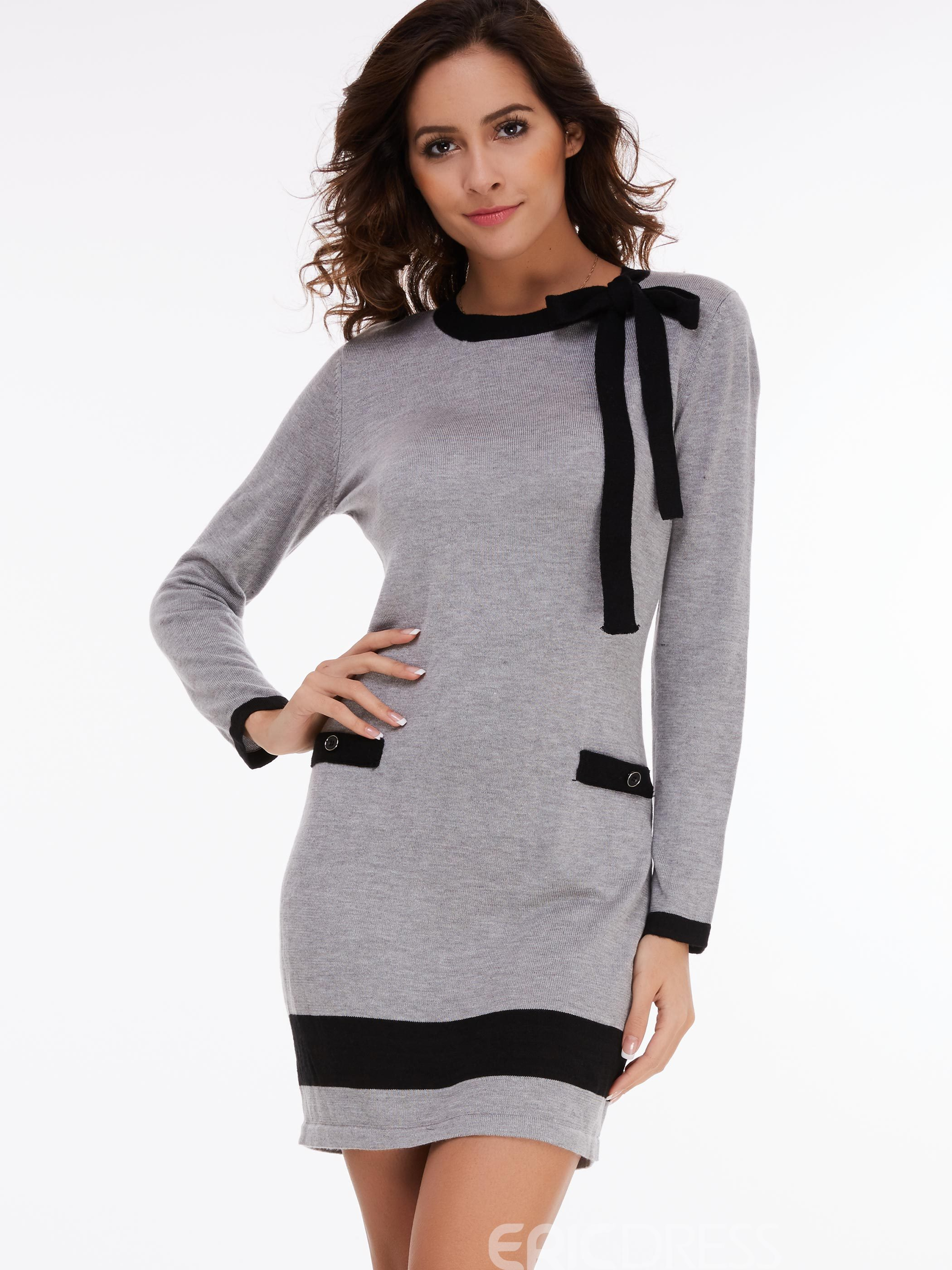 Ericdress Patchwork Pocket Nine Points Sleeves Casual Dress