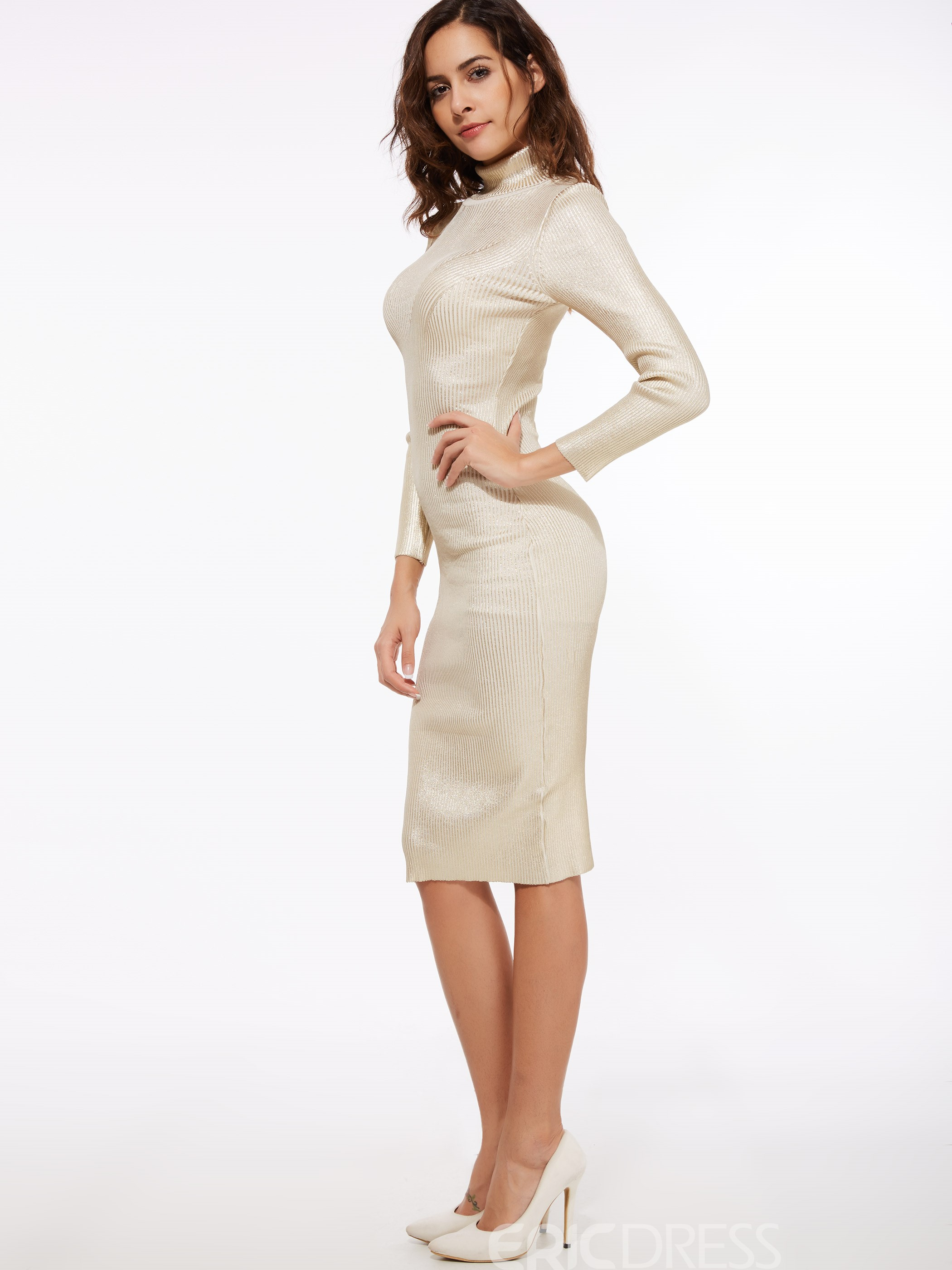 Ericdress Lurex Patchwork Turtleneck Knee-Length Sheath Dress
