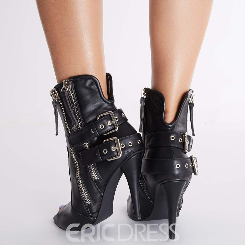 Ericdress Cool Buckles Peep Toe High Heel Boots