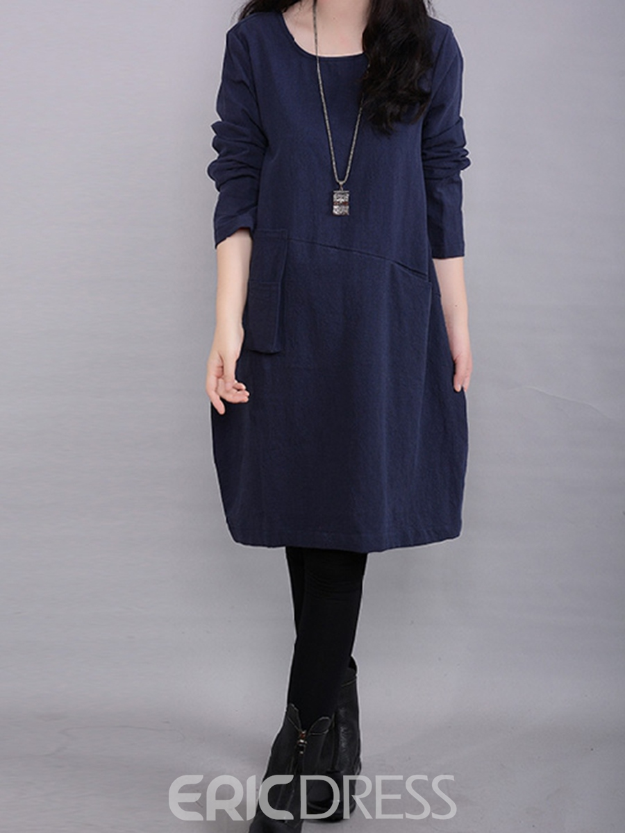 Ericdress Stylelines Patchwork Knee-Length Loose Casual Dress