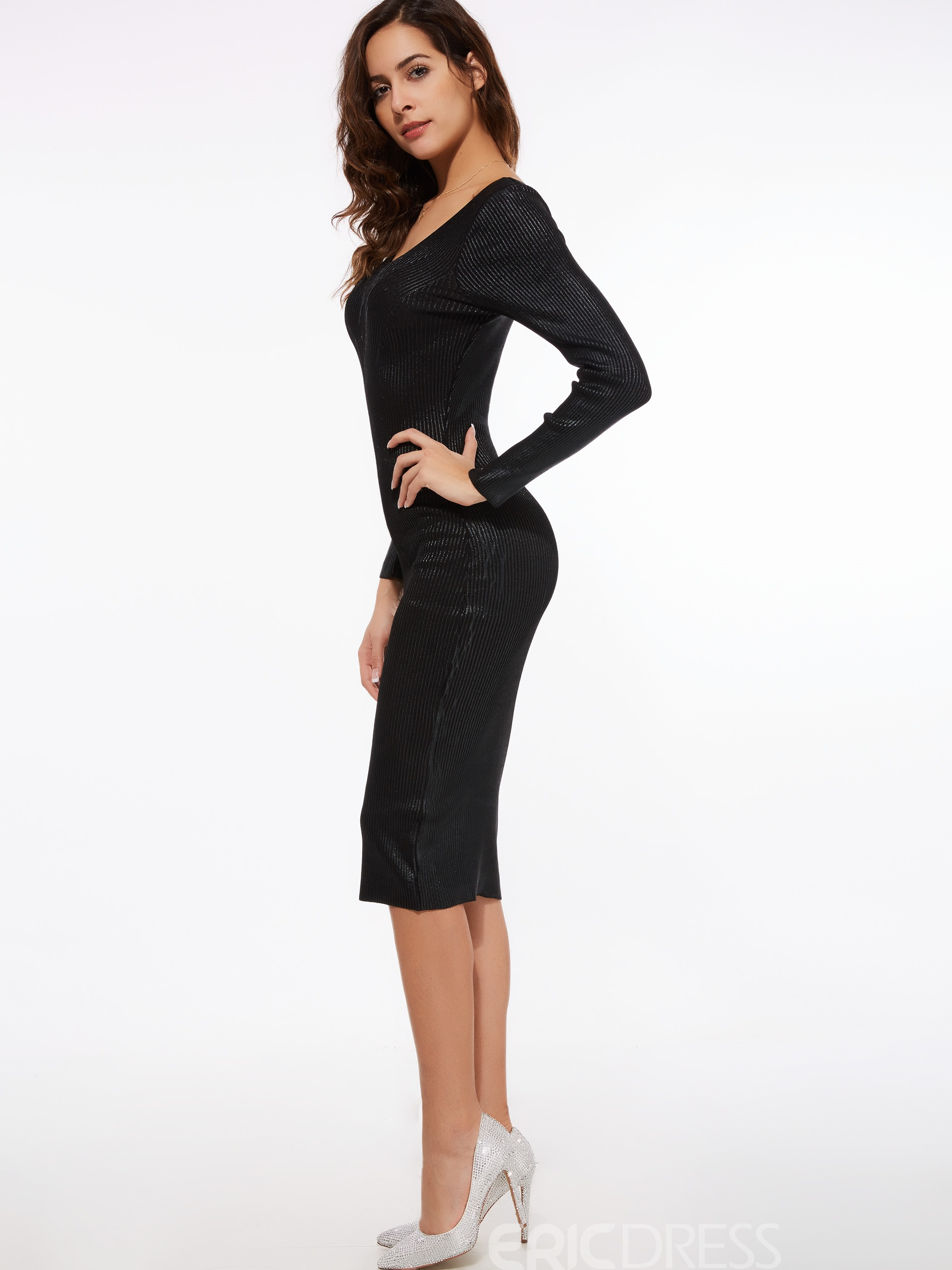 Ericdress Sexy Deep V-Neck Bodycon Dress