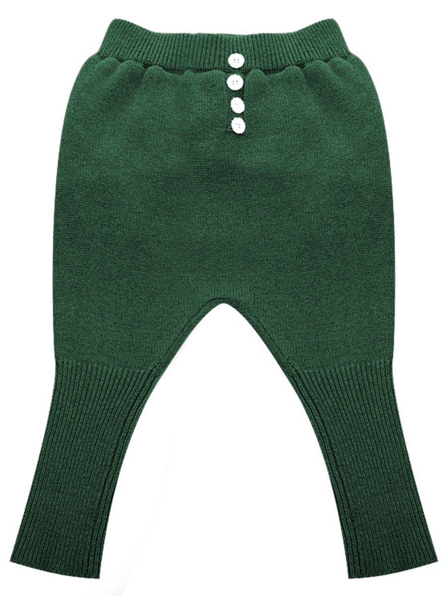 Ericdress Solid Color Button Sweater Baby Girls Haren Pants