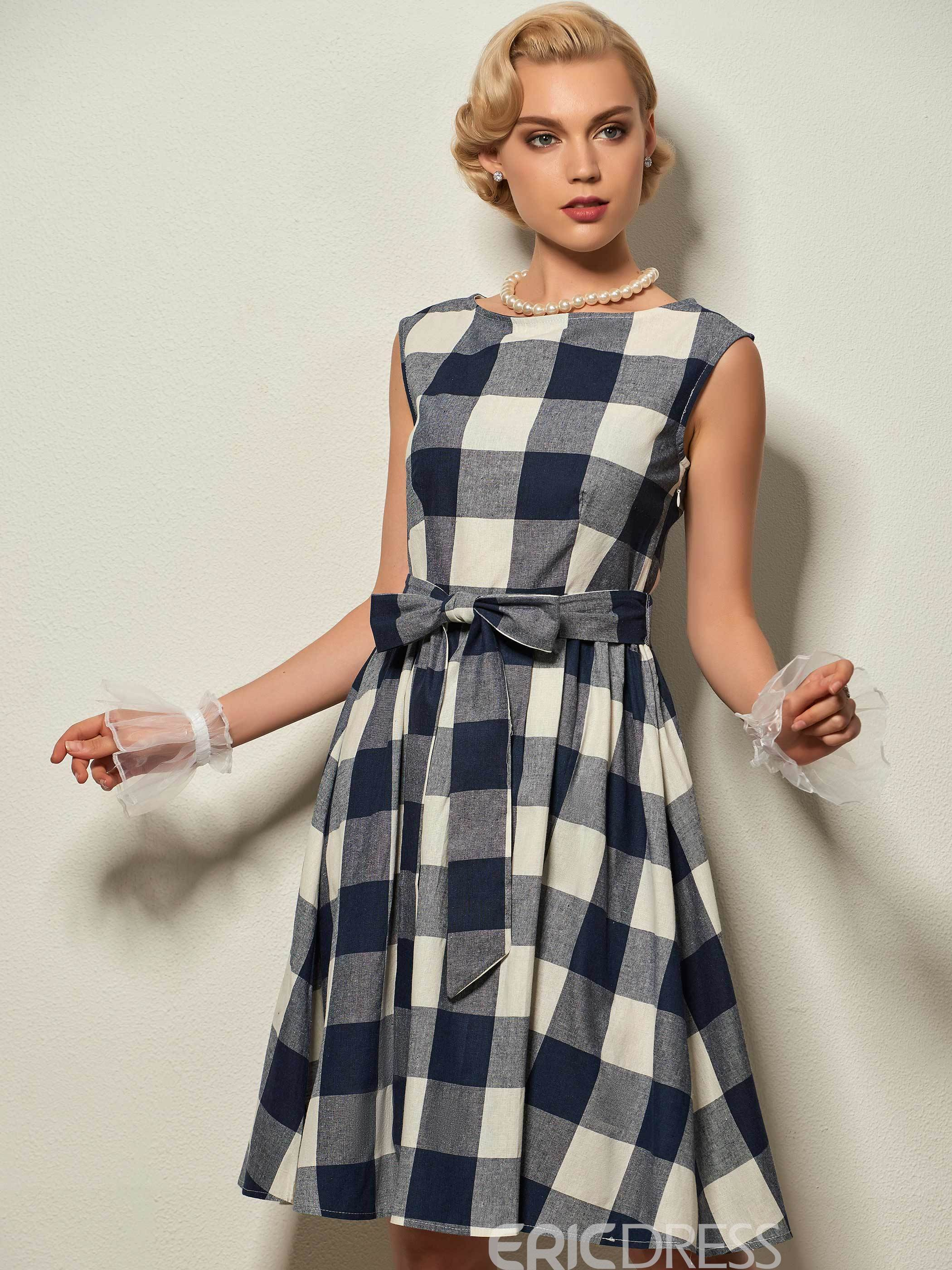 Ericdress Plaid Scoop Cap Sleeve A-Line Dress