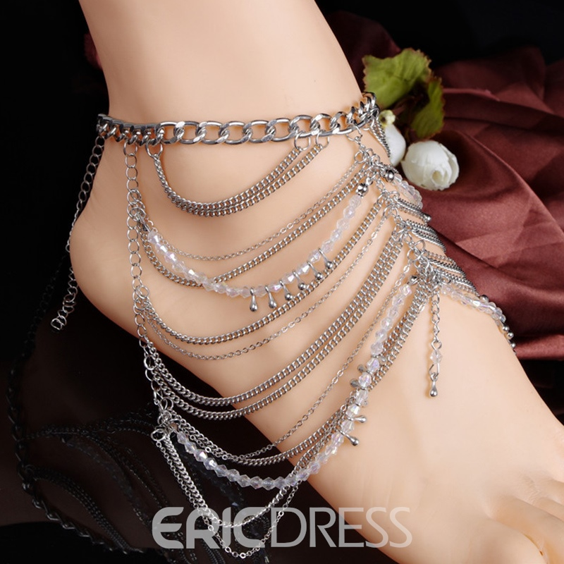 Ericdress Bohemian Multilayer Water Drop Tassels Anklet