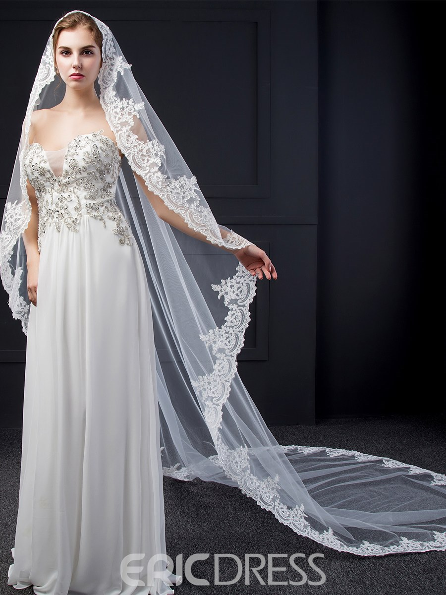 Ericdress Stunning Appliques Long Wedding Veil