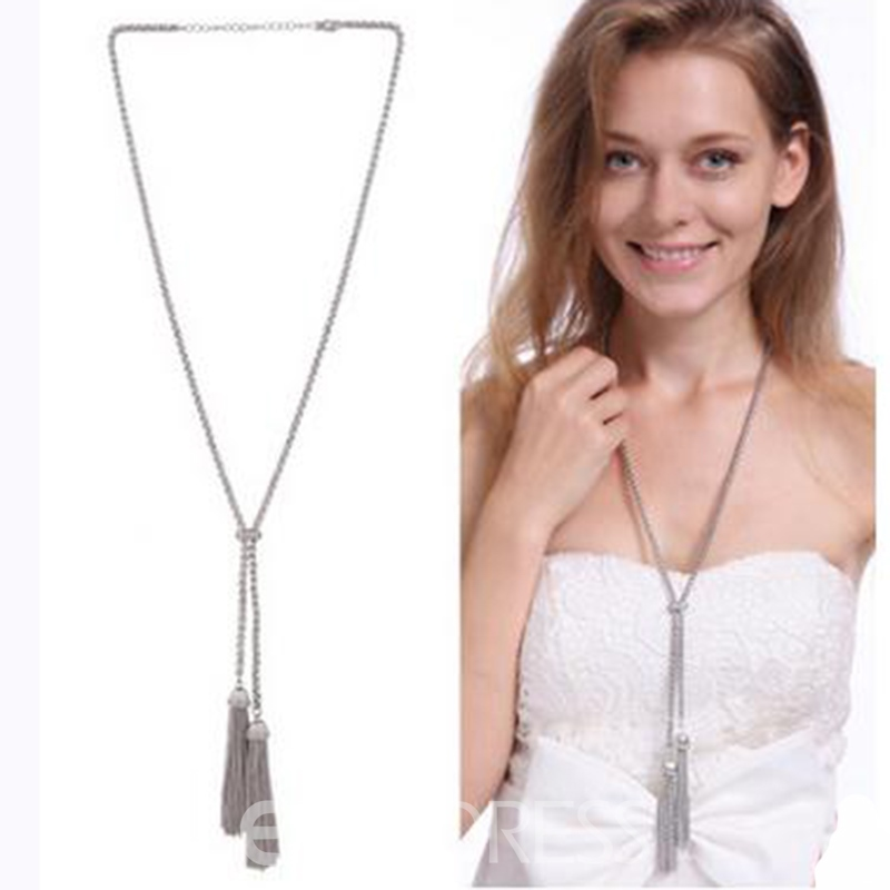 Ericdress Simple Chain Tassels Necklace for Women
